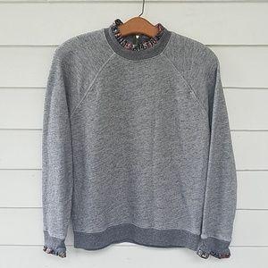 J. Crew Metallic Ruffle-neck Sweatshirt